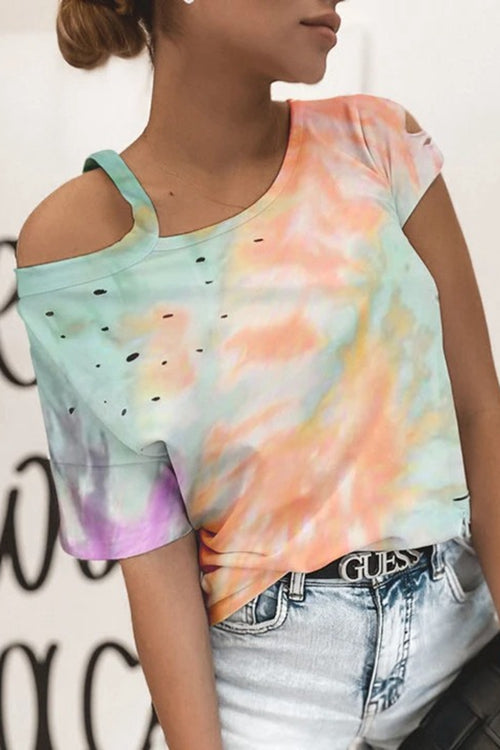 Off The Shoulder Tie Dye Casual T-Shirt