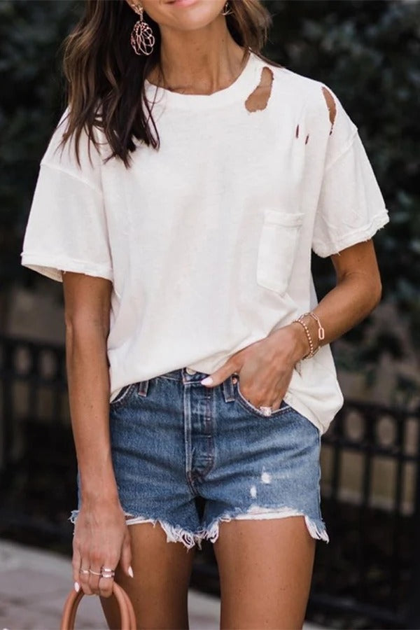 Casual Holey Round Neck T-shirt