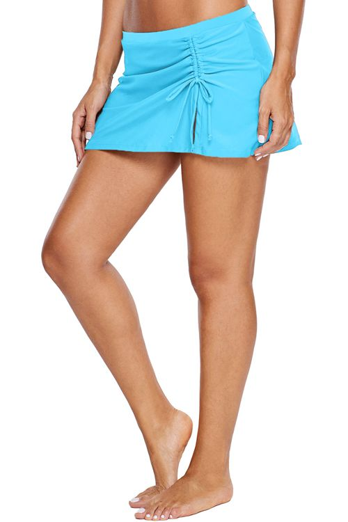 Pleated lace up swimming pants