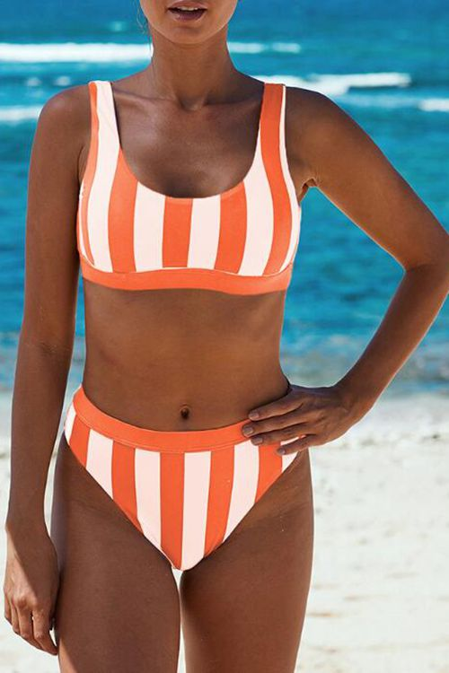 Sexy low round neck sleeveless stripe bikini