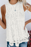 Hollow-Out Lace Printed Tank Top