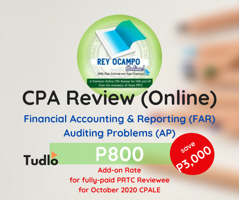 REY OCAMPO ONLINE: Online CPA Review - FAR & AP [PRTC Add-on Rate]