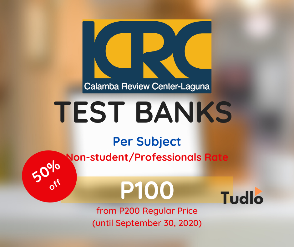 CALAMBA REVIEW CENTER - LAGUNA: Test Banks (Per Subject) - Regular Rate