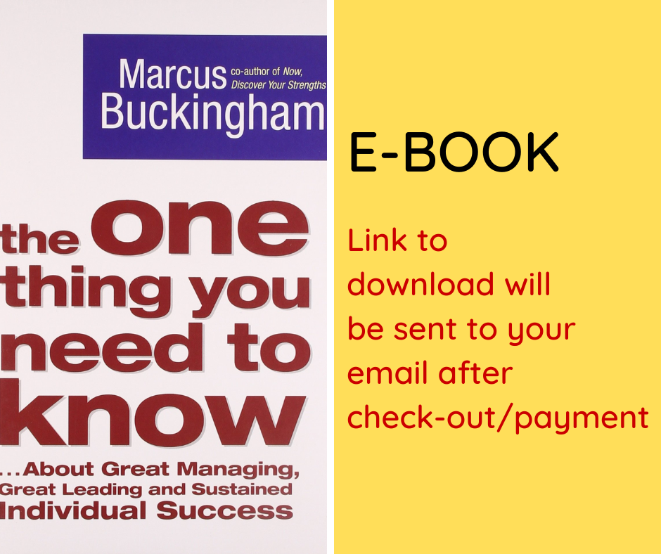 E-BOOK: The One Thing You Need to Know: ... About Great Managing, Great Leading, and Sustained Individual Success