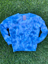 Load image into Gallery viewer, Milky Blue Tie Dye Crewneck Sweater