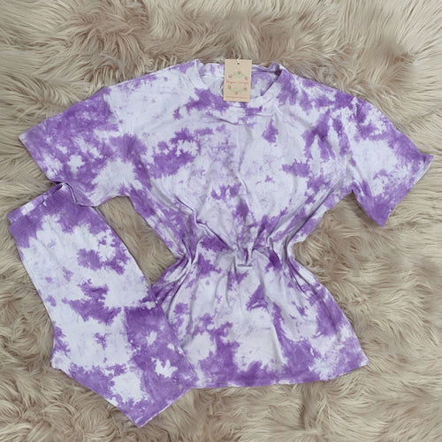 Serena Tie Dye Biker Set (Purple)
