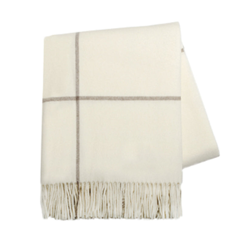 Ecru & Taupe Windowpane Cashmere Throw