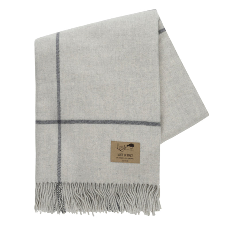 Light Gray & Charcoal Windowpane Cashmere Throw