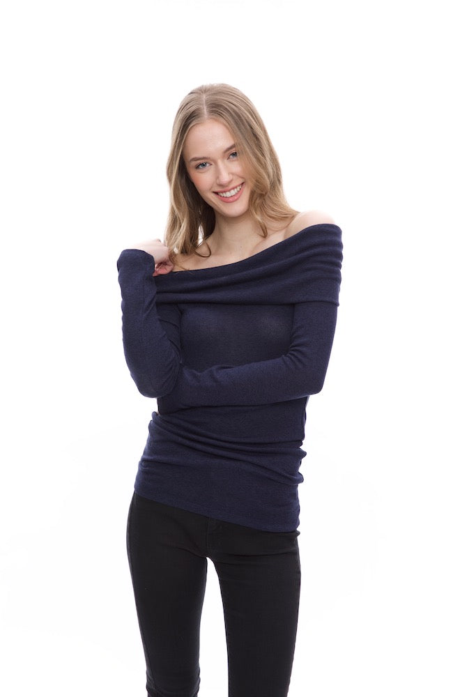 Cowl/Off Shoulder Sweater Top