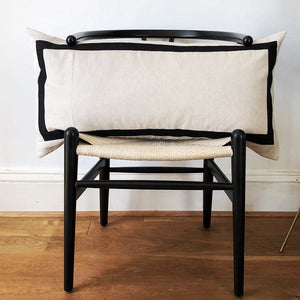 The Classic - Cotton Linen Patchwork Cushion - Oyster & Black