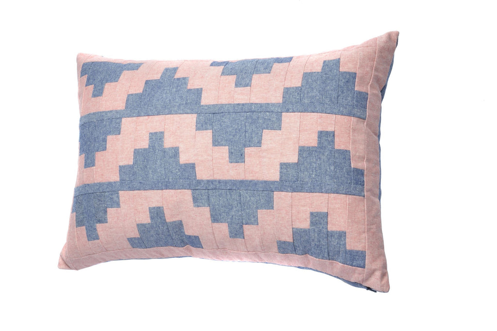 Upton Small Patchwork Cushion in Blue and Pink