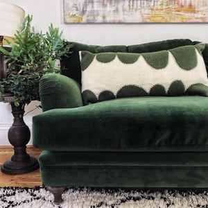 Kate - Wool Appliqué Cushion in Green and White
