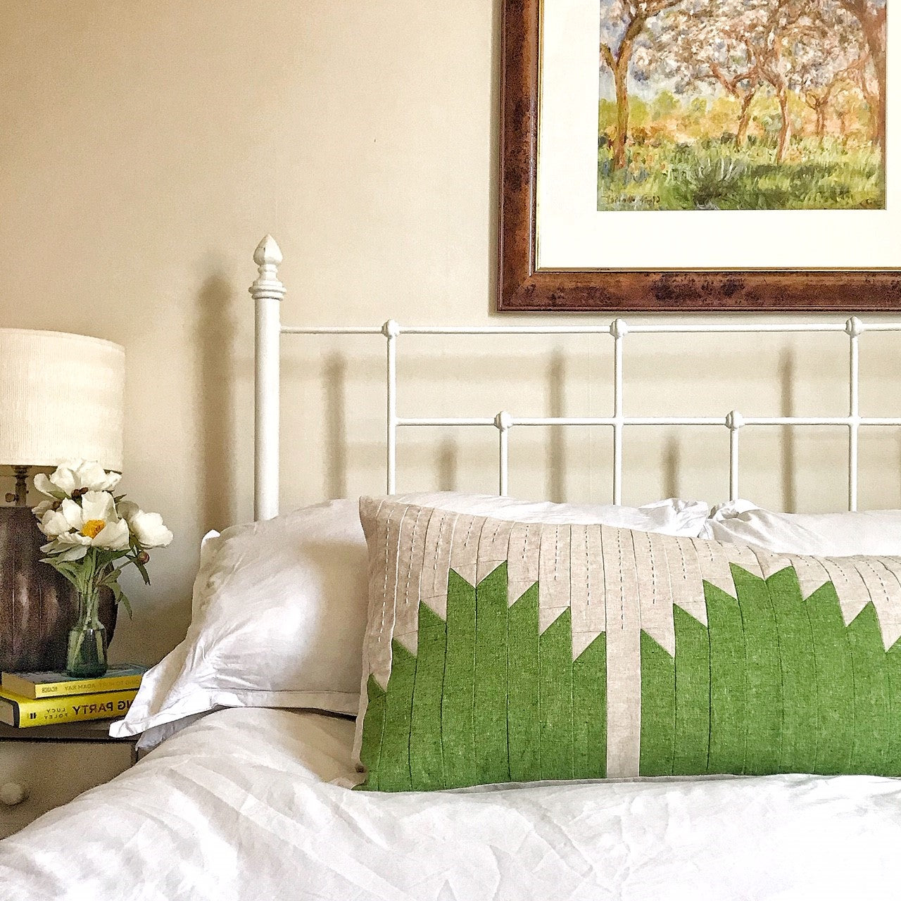 Halle - Patchwork Cushion - Mid Green on Oyster with embroidery detail.
