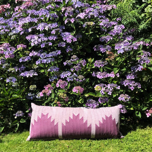 Halle - Patchwork Cushion in Heather with embroidery detail