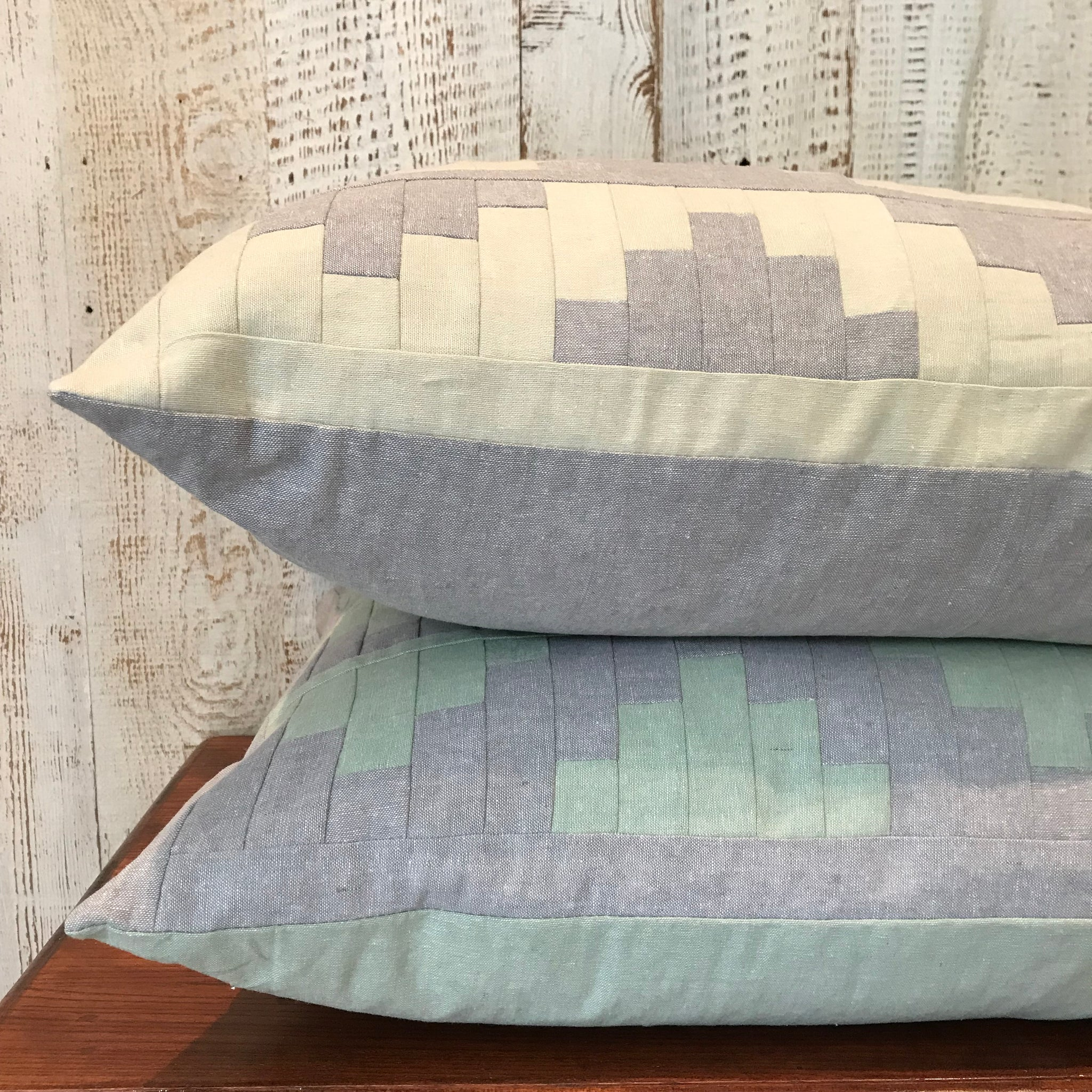 Upton Large Patchwork Cushion in Grey and Apple