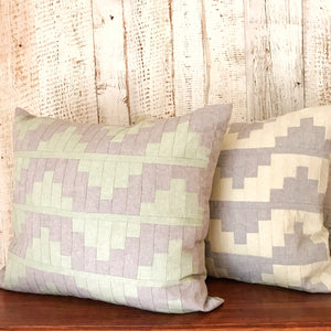 Upton Large Patchwork Cushion in Grey and Mint