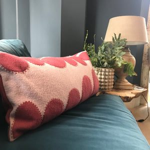 Kate - Wool Appliqué Cushion in Pink on Rose