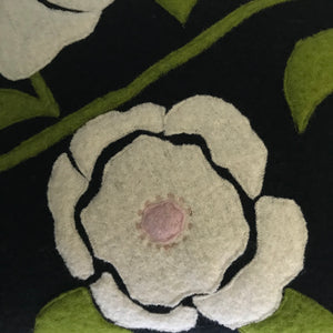 Polly - Wool Appliqué Cushion in Black
