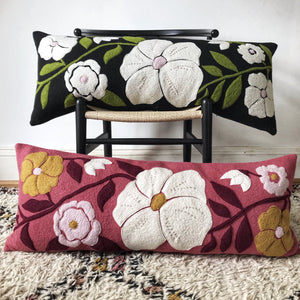 Polly - Wool Appliqué Cushion in Pink