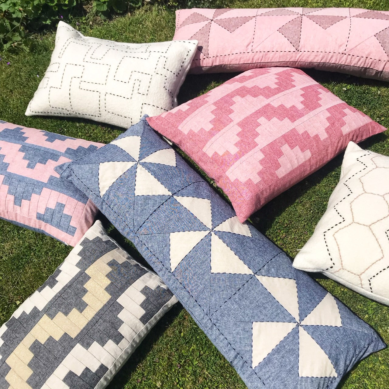 Upton Large Patchwork Cushion in Red and Pink