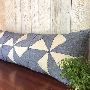 Whirl Lumbar Patchwork Cushion in Navy and Off-white