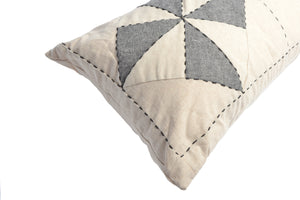Whirl Lumbar Patchwork Cushion in Off-white and Charcoal
