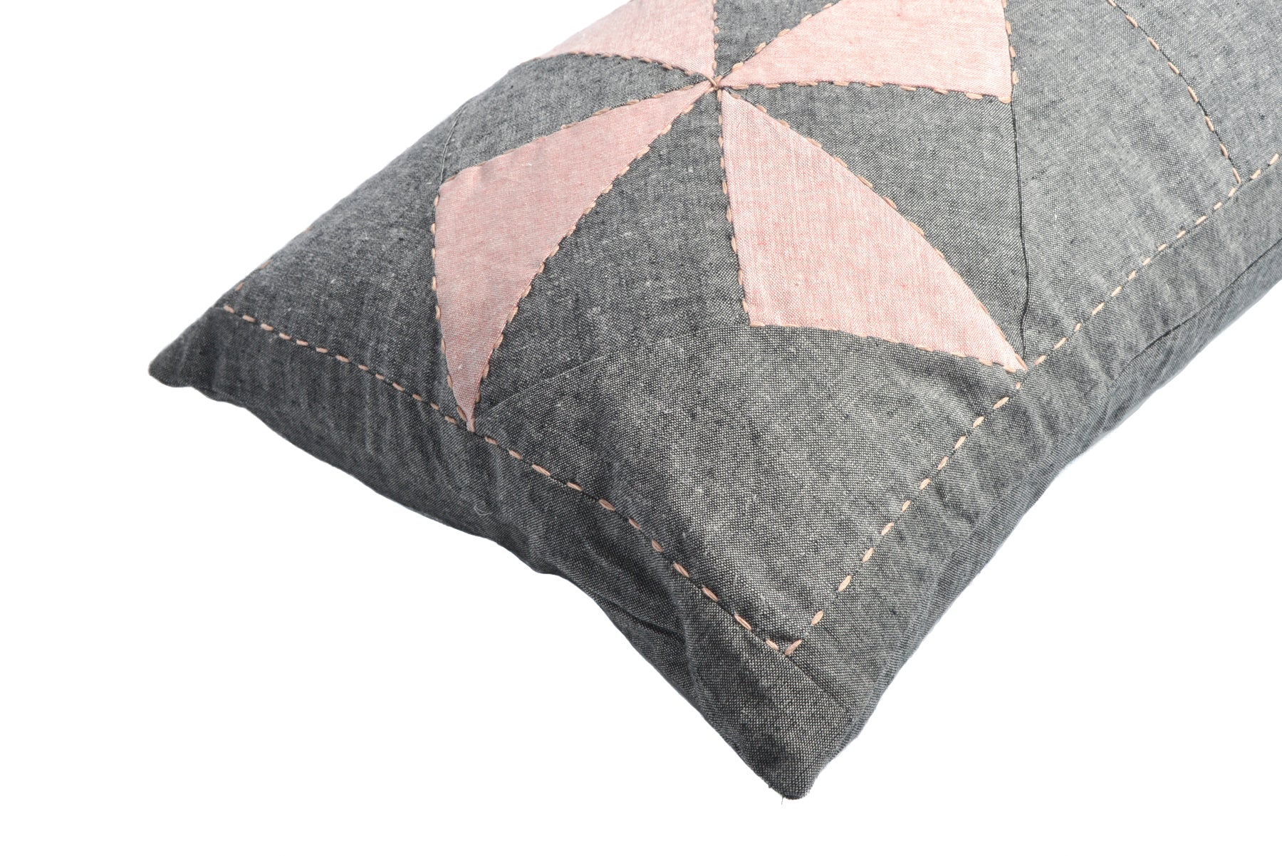 Whirl Lumbar Patchwork Cushion in Charcoal and Pink