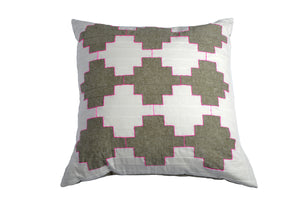 George - Patchwork Cushion in Olive and White