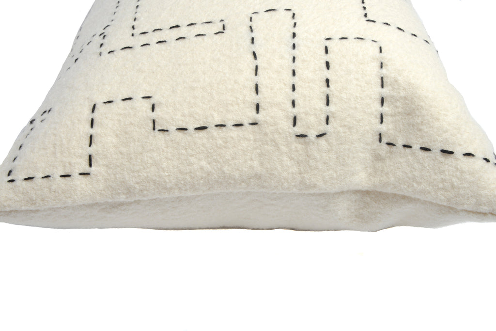Turner Small Hand-Embroidered Cushion in Black on Off-White