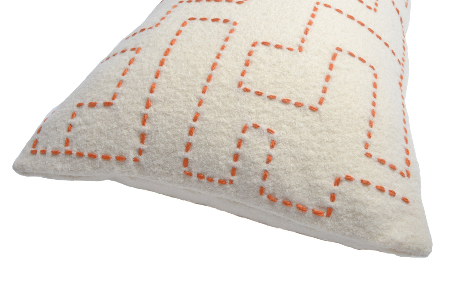 Turner Large Hand-Embroidered Cushion in Orange on Off-White