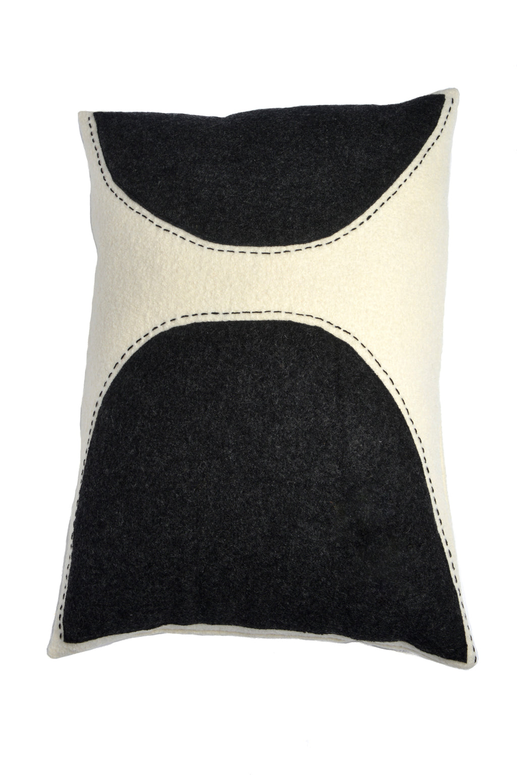 Bertha - Wool Appliqué Cushion in Black and White