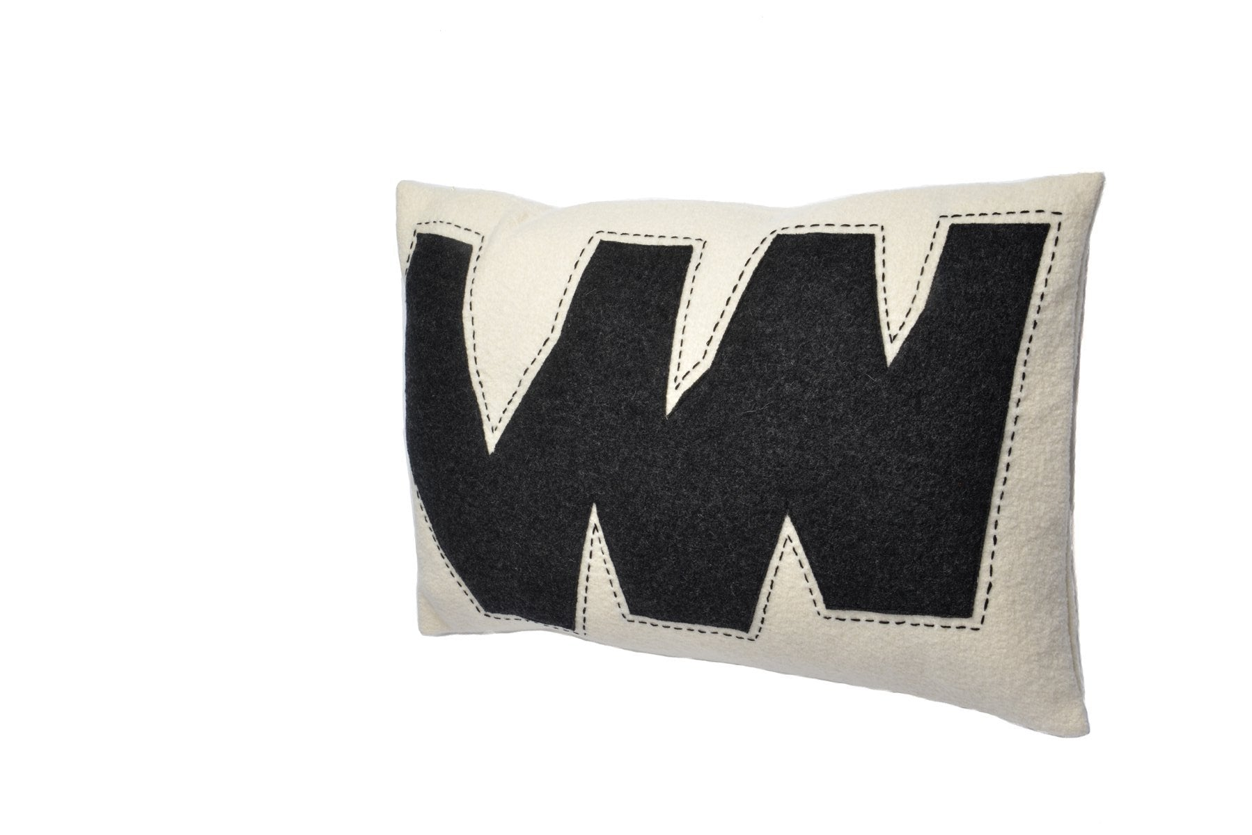 Matilda - Wool Applique Cushion in Black and White