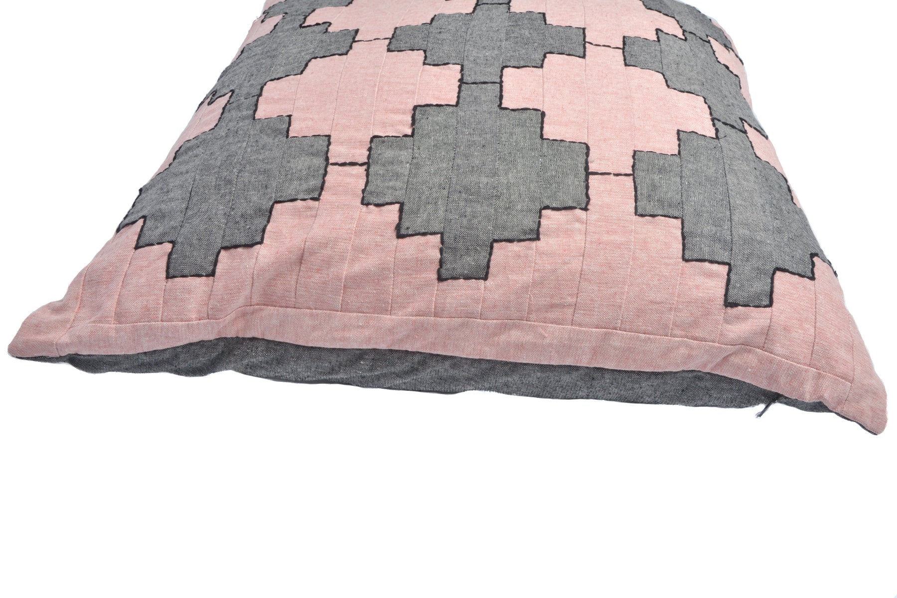 George - Patchwork Cushion in Charcoal and Pink