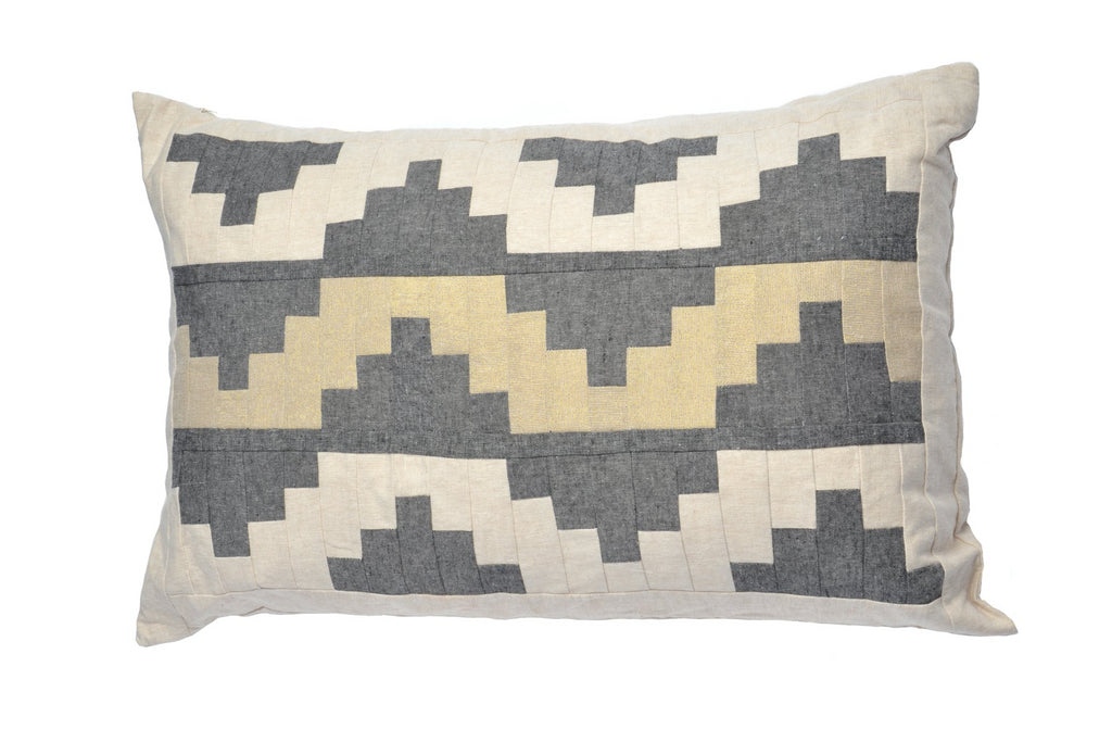 Upton Small Patchwork Cushion in Charcoal, Cream and Gold