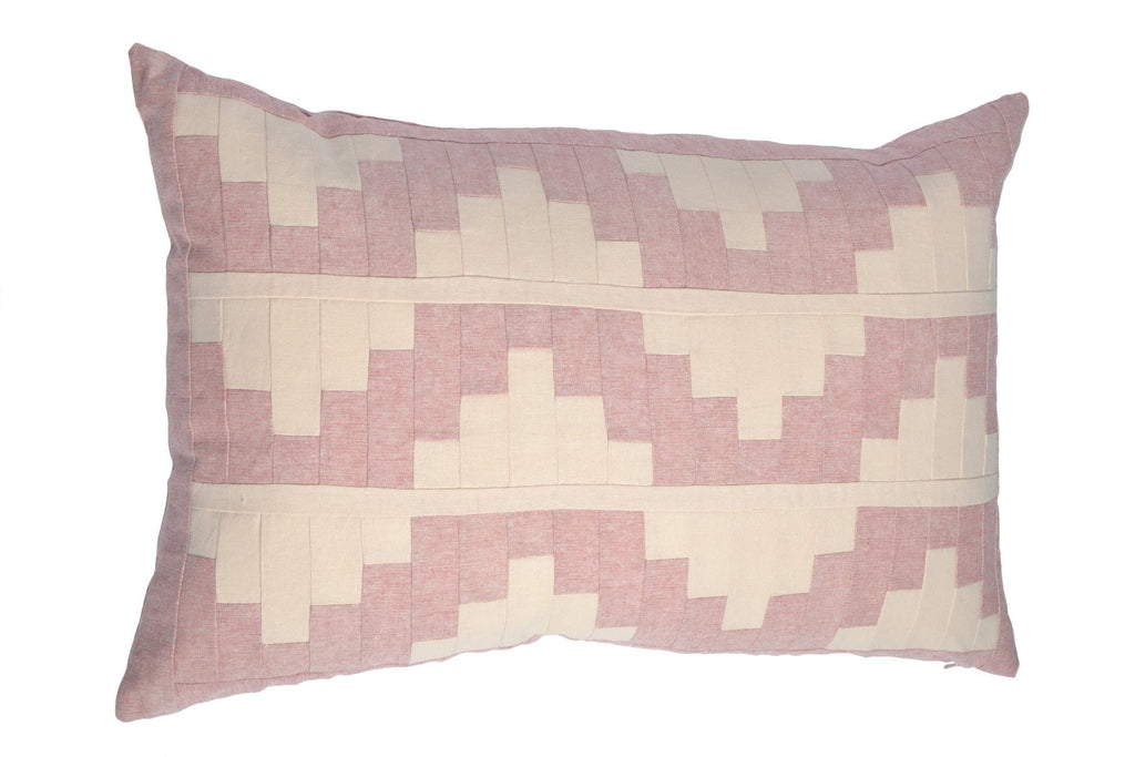 Upton Small Patchwork Cushion in Pink and Blush