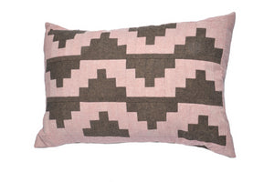 Upton Small Patchwork Cushion in Espresso and Pink