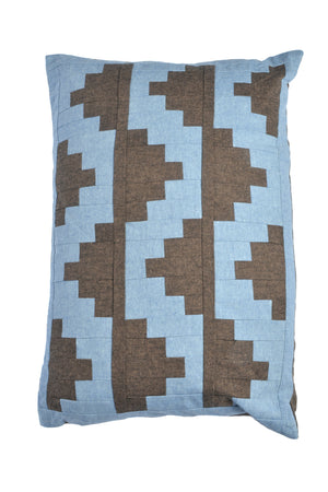 Upton Small Patchwork Cushion in Espresso and Mid-Blue