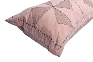 Whirl Lumbar Patchwork Cushion in Pink and Claret