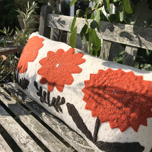 Robin - Floral Wool Appliqué Cushion in Rust Orange and White