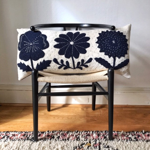 Robin - Floral Wool Appliqué Cushion in Navy and White