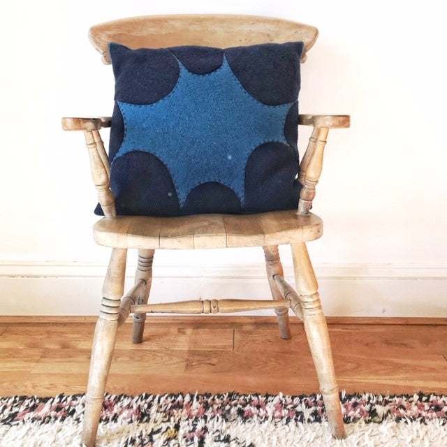 Square Wool Appliqué Cushion - Kate - In Navy and Vivid Blue