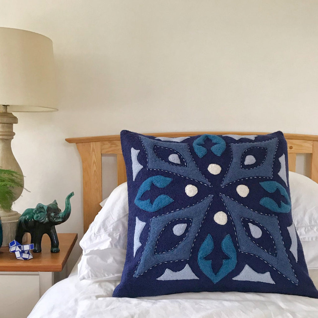 Tila - Wool Appliqué Cushion in Blue, teal, and off white