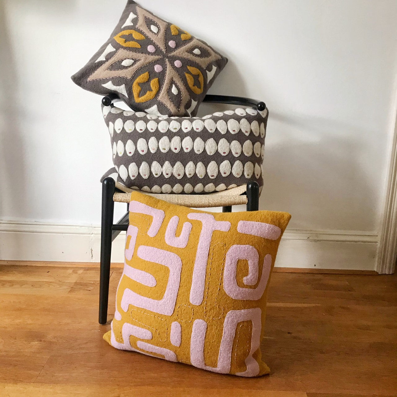 Tila - Wool Appliqué Cushion in Taupe, mustard, pale pink and off white