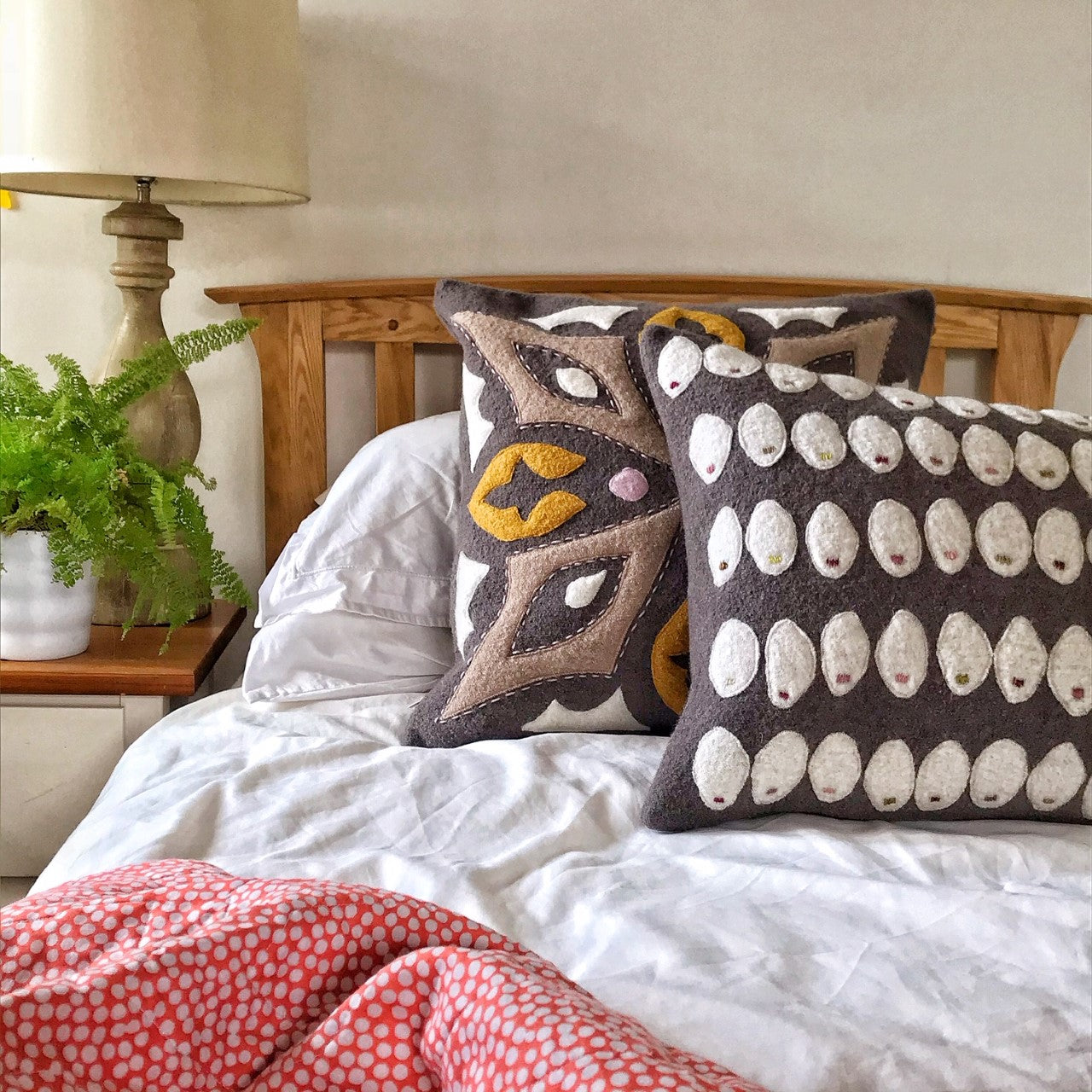 Pebble - Wool Appliqué Cushion in Taupe and Off-white with embroidery detail