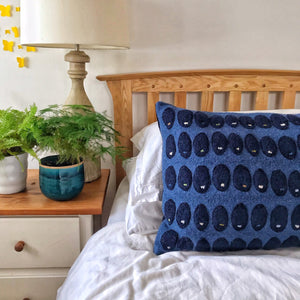 Pebble - Wool Appliqué Cushion in Rich Blue with Navy detail with embroidery detail