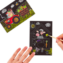 Load image into Gallery viewer, Mini Scratch & Scribble Art Kit - 7 PC Set Farm Animals