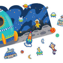 Load image into Gallery viewer, Play Again! Reusable Sticker Scenes: Space Critters
