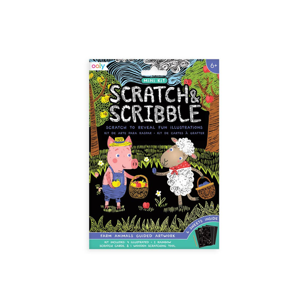 Mini Scratch & Scribble Art Kit - 7 PC Set Farm Animals