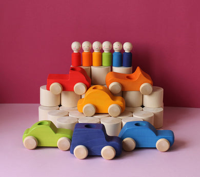 6 Rainbow Peg Dolls & Cars ETA NOV - Things They Love