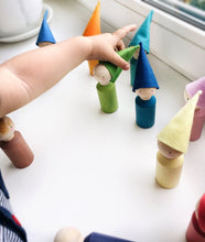 Load image into Gallery viewer, Peg People Set w/ Wool Hats - Things They Love